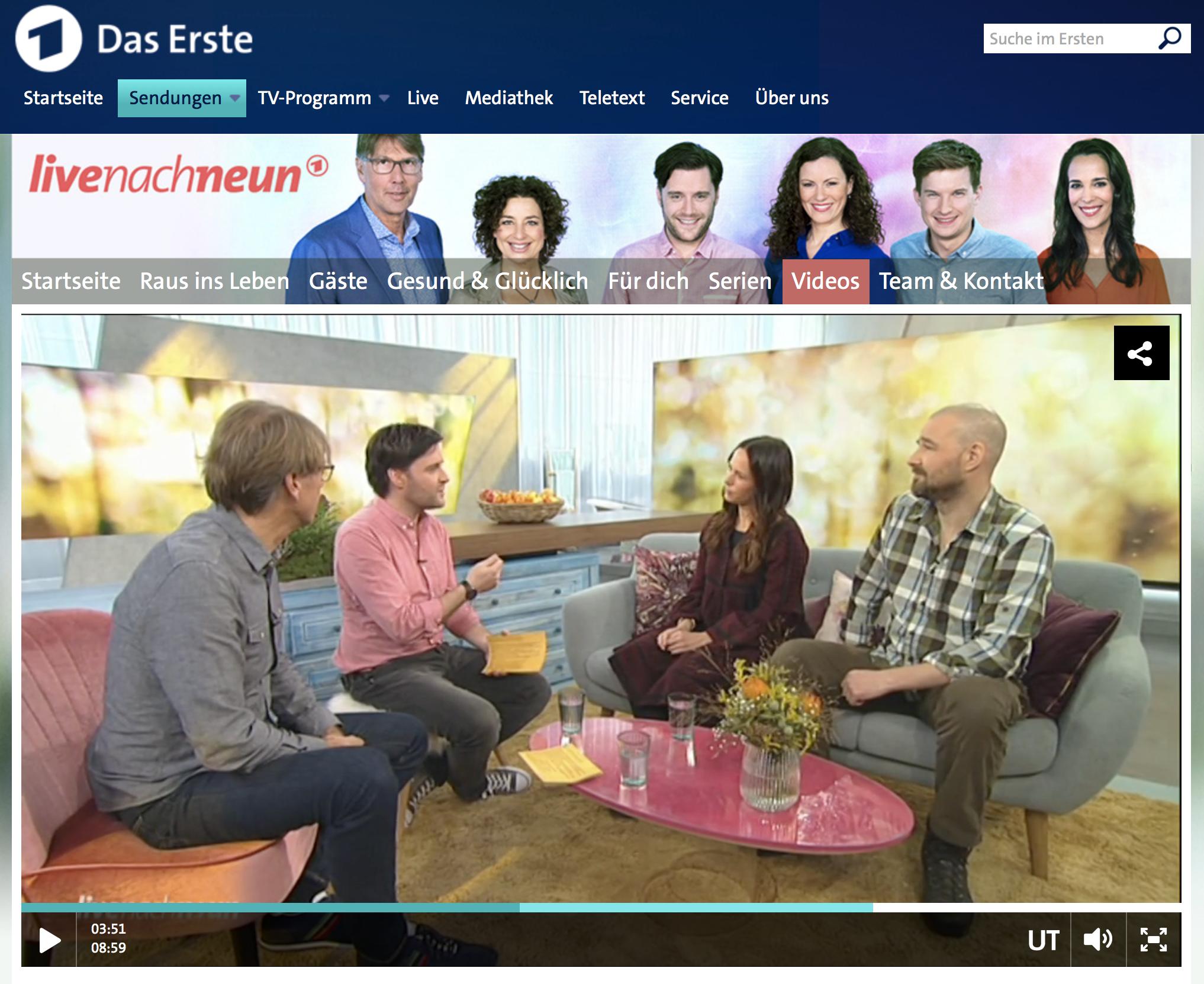 Franziska und Carsten Jebens bei »Live nach Neun« in der ARD
